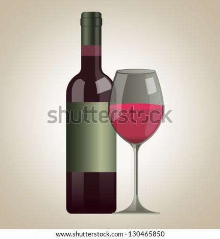 Vector isolated glass and bottle of wine
