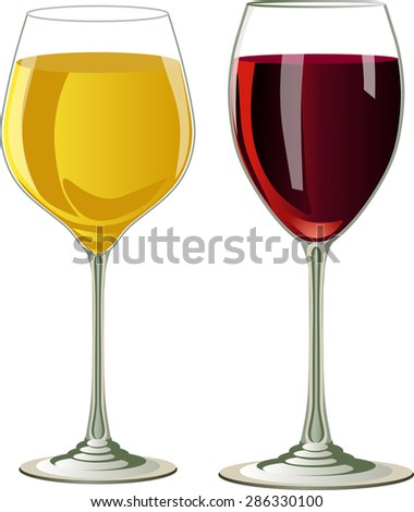 Vector isolated glasses of wine.