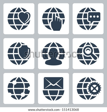 Vector isolated globe icons set - stock vector