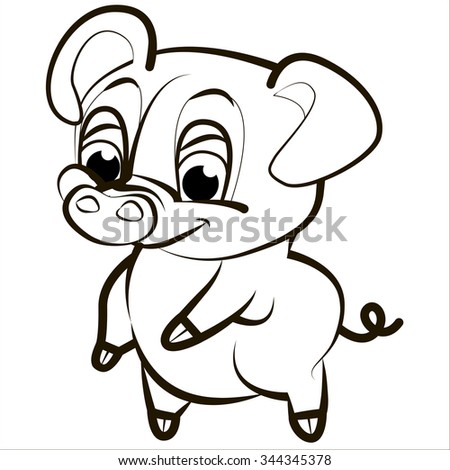 Vector isolated illustration, cute cartoon of funny pink pig. Black. - stock vector