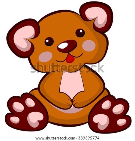 Vector isolated illustration, cute cartoon of funny plush bear toy - stock vector