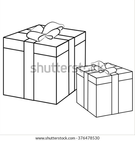 Vector isolated illustration, cute cartoon of great gifts. Black
