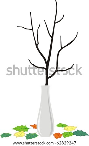 Vector isolated illustration - Dry branch of the tree in an elegant white vase and fallen down leaves - cartoon style