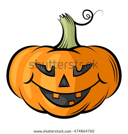 Vector isolated illustrations of smiling cheerful pumpkins contour color