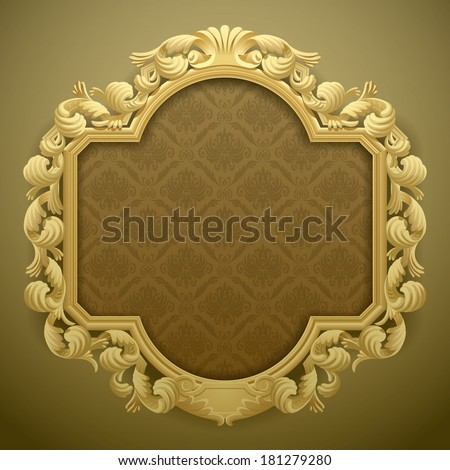 Vector isolated image of the baroque carved beige frame against a brown-green background - stock vector