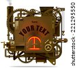 Vector isolated image of the complex fantastic machine with stove, gears, levers, pipes and other machinery. Symbol of industry, energy and power. Steampunk style banner - stock vector