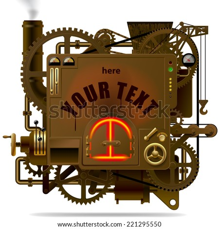 Vector isolated image of the complex fantastic machine with stove, gears, levers, pipes and other machinery. Symbol of industry, energy and power - stock vector