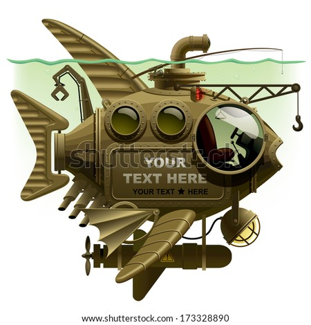 Vector isolated image of the complex fantastic submarine in the form of fish with machinery, equipment and armament - stock vector