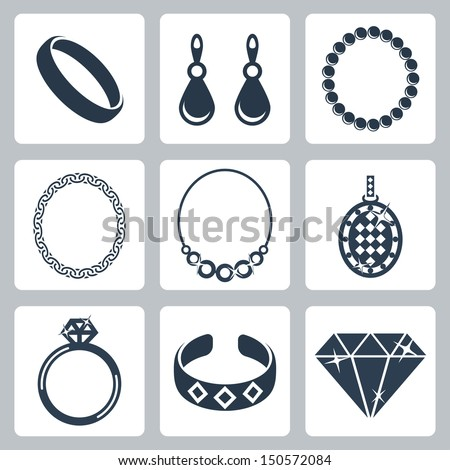 Vector isolated jewelry icons set - stock vector