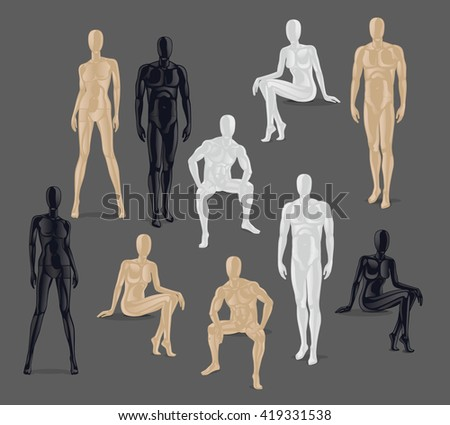 Vector Isolated Mannequins. Different poses and colurs male and female mannequin icons.  - stock vector