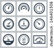 Vector isolated meters icons set - stock vector