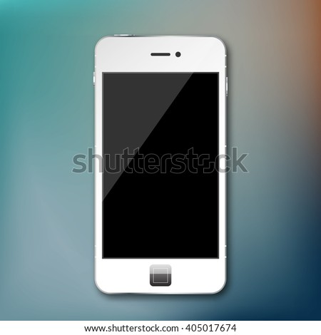 Vector isolated mobile phone smartphone on transparent grid - stock vector