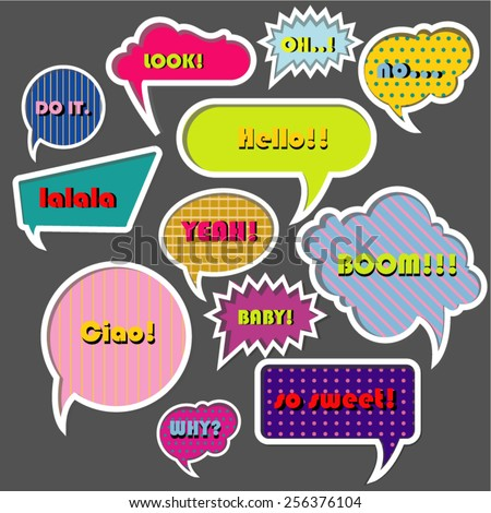 vector isolated modern stylish colorful speech bubbles. modern communication - stock vector