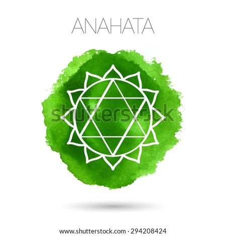 Vector isolated on white background illustration of one of the seven chakras - Anahata, the symbol of Hinduism, Buddhism. Watercolor hand painted texture. For design, associated with yoga and India. - stock vector