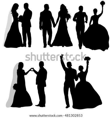 Wedding silhouette stock images royalty free images vectors vector isolated on white background wedding set of bride and groom wedding junglespirit Gallery