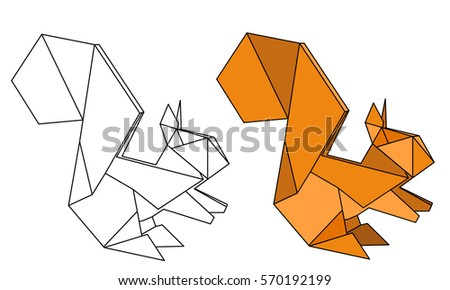 Vector Isolated Origami Squirrel Outline