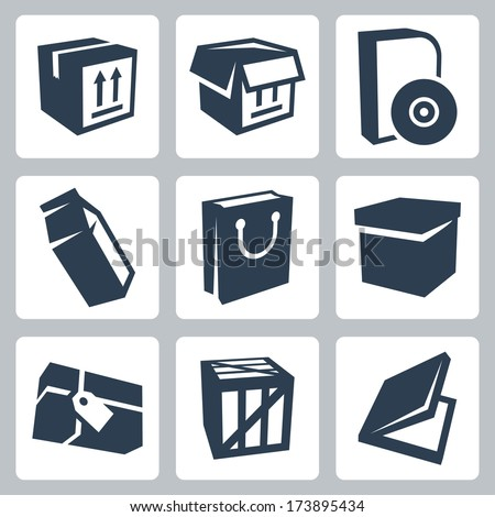 Vector isolated package icons set #1 - stock vector