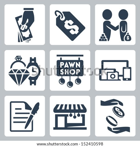 Vector isolated pawnshop icons set - stock vector
