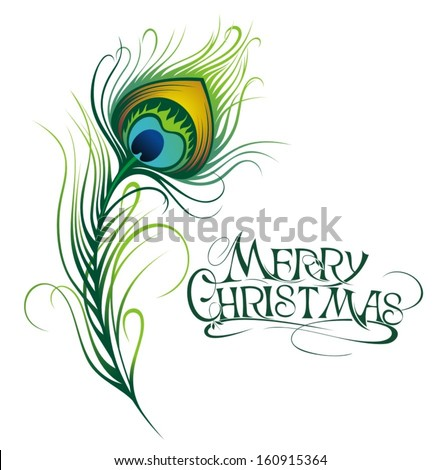 Vector isolated peacock feather.Merry Christmas - stock vector