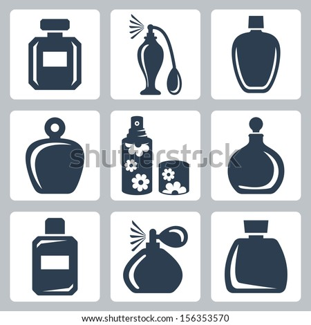Vector isolated perfume bottles icons set - stock vector