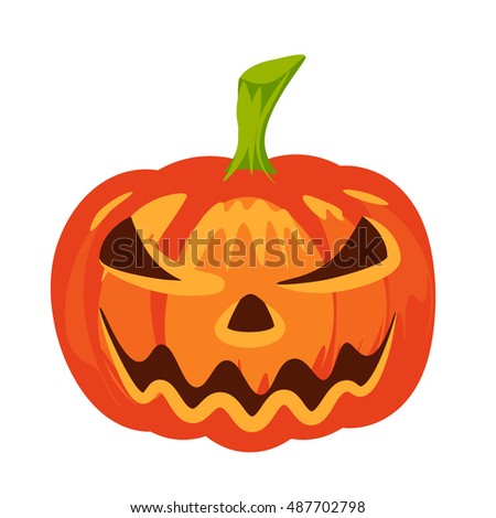 Vector isolated pumpkin. Halloween design, emotion,  angry, smiling, sad, scary, evil, smile. Jack lantern for website, flier, invitation card, sticker