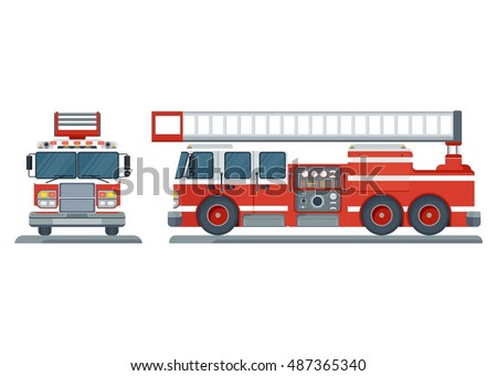 Vector isolated red fire engine front, side. Fire truck rescue engine transportation. Firefighter emergency. Flat cartoon illustration. Objects isolated on a white background.