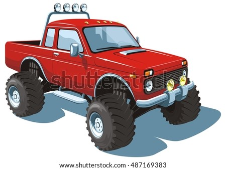 Vector isolated red monster truck, off-road vehicle on white background