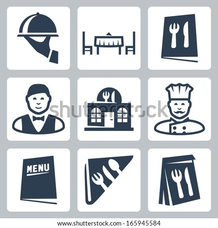Vector isolated restaurant icons set - stock vector