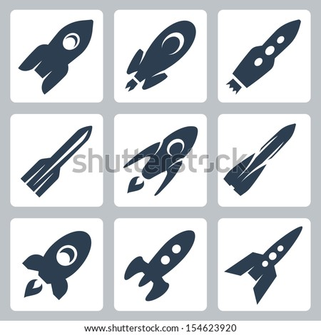 Vector isolated rockets icons set - stock vector