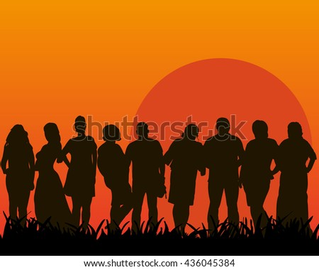 vector, isolated set of people in nature - stock vector