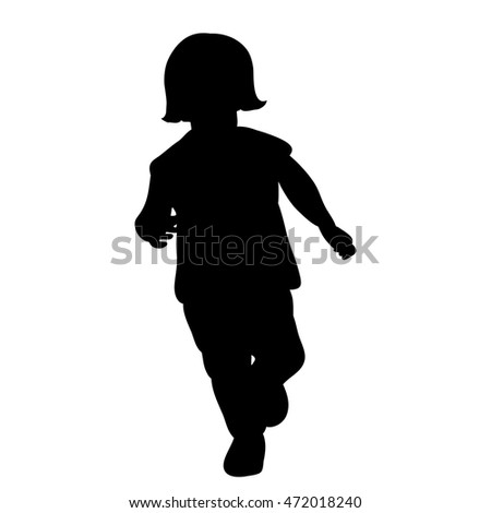 vector, isolated,silhouette child running, girl
