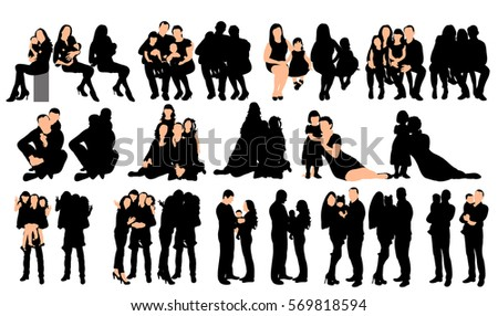 vector, isolated, silhouette family, collection