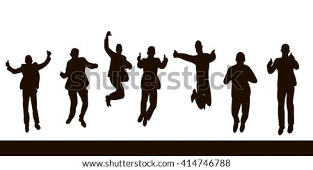 vector isolated silhouette , men in suits jumping