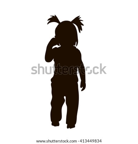 vector , isolated, silhouette of a child - stock vector