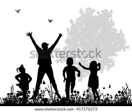 vector isolated silhouette of children jumping nature