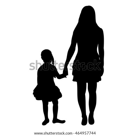 vector, isolated, silhouette of mother and daughter holding hands