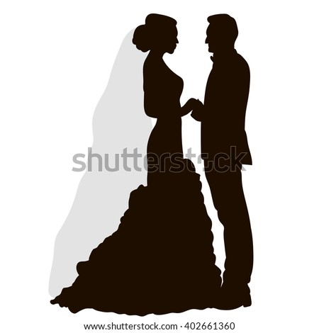 vector , isolated, silhouette , wedding, bride and groom - stock vector
