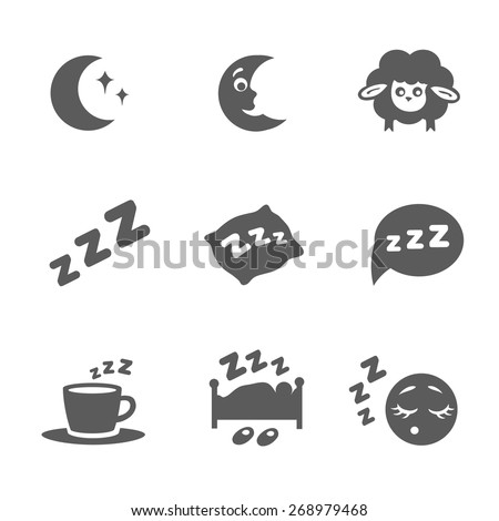 Vector isolated sleep concept icons set pillow, bed, moon, sheep and zzz - stock vector