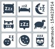 Vector isolated sleep concept icons set: pillow, bed, moon, sheep, owl, zzz - stock vector