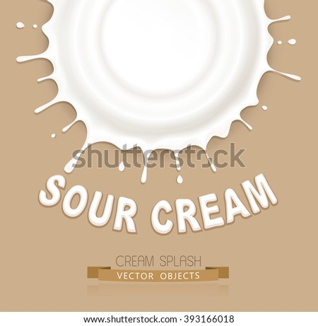 vector isolated splash of sour cream on a brown background