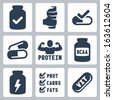 Vector isolated sport supplements icons set - stock photo