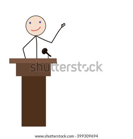 vector, isolated Stick Figure men male talk on stage have speech info graphic icon vector sign  - stock vector