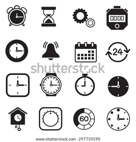 Vector isolated timers and clock icons set - stock vector