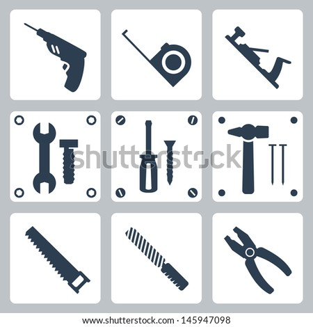 Vector isolated tools icons set - stock vector