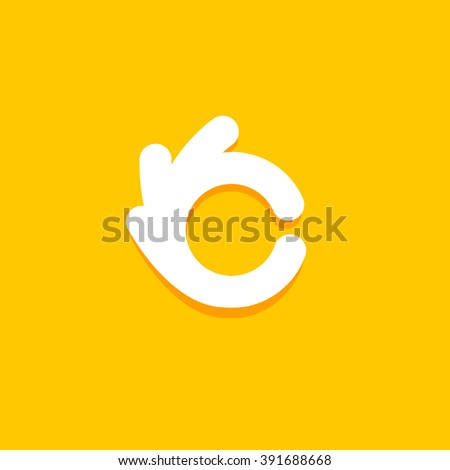 Vector isolated unusual logo. Good job. All perfectly. Well done.Great. Checked. Good. Symbol. Fingers hands shows Its OK. White color design element on yellow background. - stock vector