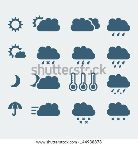 Vector isolated weather icons set - stock vector