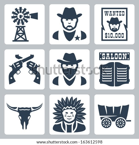 Vector isolated western icons set: windmill, sheriff, wanted poster, revolvers, bandit, saloon, longhorn skull, indian chief, prairie schooner - stock vector