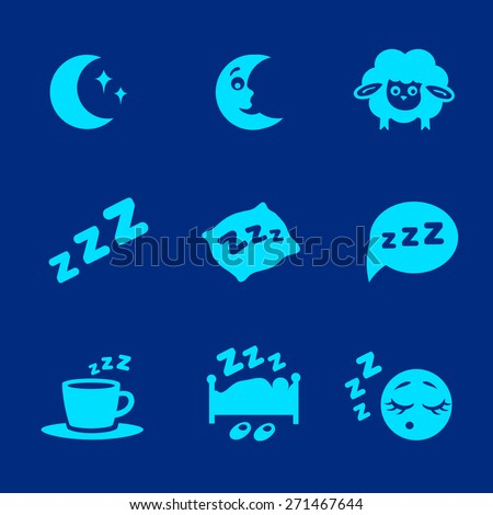 Vector isolated white sleep concept icons set pillow,  bed, moon, sheep and zzz - stock vector