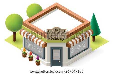 Vector isometric bakery shop building icon - stock vector