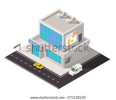 Vector isometric bank building. Financial banking icon. 3d bank illustration - stock vector